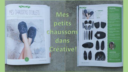 Tuto pantoufles renard publié dans Créative magazine
