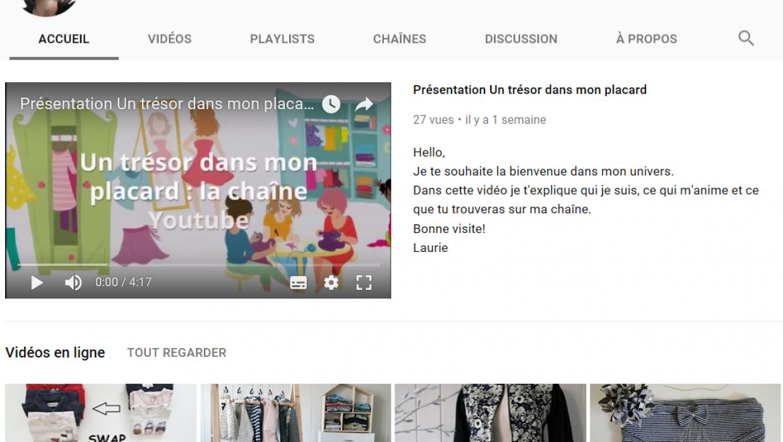 Le lancement de la chaîne YouTube Un trésor dans mon placard.