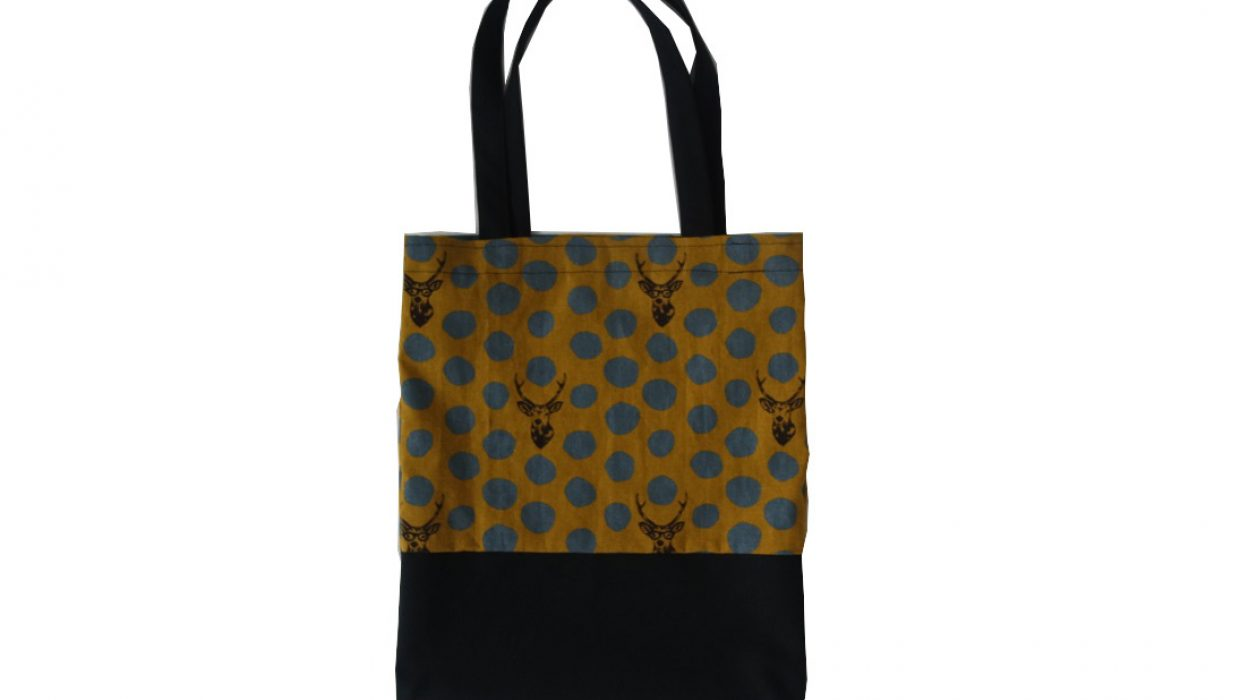 Tote bag tête de cerf upcycling