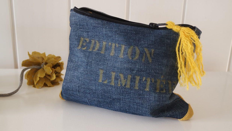 Découvrez ma nouvelle création. Cette trousse en jean est entièrement réalisée à partir de matières de récupération.